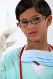 Boy dressed as a nurse