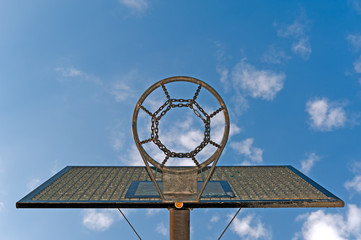 Basketballkorb vor blauem Himmel