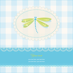 Greeting card with copy space and dragonfly