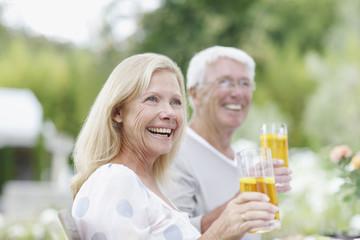 Senior couple drinking iced tea