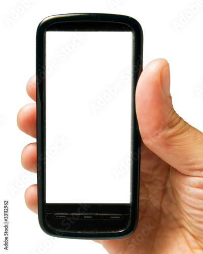 Hand holding a phone on white 2