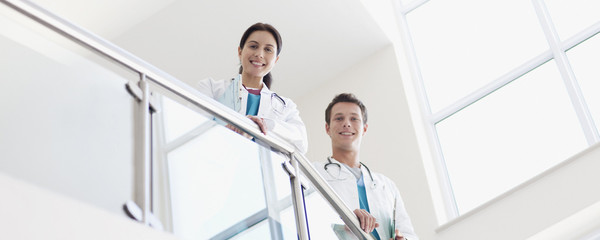 Portrait of doctors on stairs