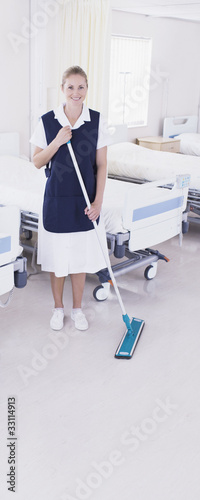 Orderly sweeping in hospital