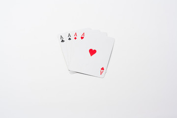 Four aces on isolated background