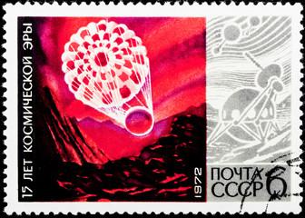 Postal stamp. Sputnik, 1972