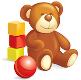 Toys - Teddy bear, cubes, ball. Vector illustration