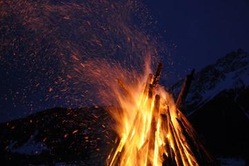 brennende baumstämme