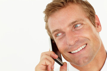 Businessman talking on phone