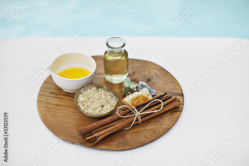 Bath salts and massage oils at poolside