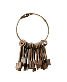 Fototapety old keys on a big keyring with clipping Path