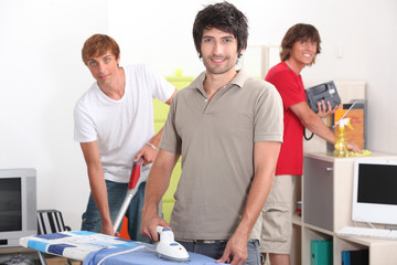 Guys cleaning