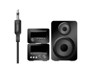 stereo illustration and plug