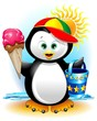 Pinguino cartoon Gelato e Spiaggia-Penguin at the Beach-Vector