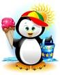 Pinguino cartoon Gelato e Spiaggia-Penguin at the Beach-Vector