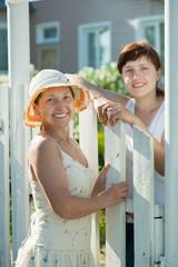 Two  women near fence wicket