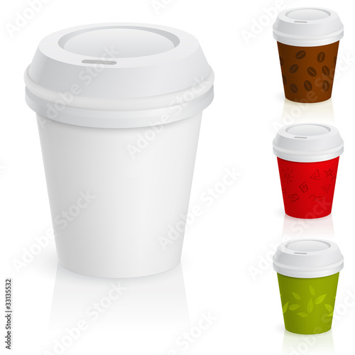 Set of takeaway coffee cups.