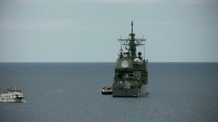 Warship anchored