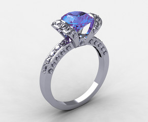 Tiffany 18k white gold diamond ribbon engagement ring