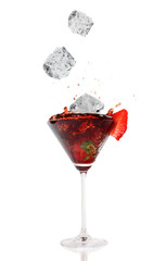 Splashing coctail drink, isolated on white background
