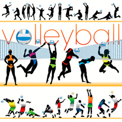 Volleyball 30 silhouettes set