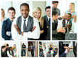 Collage of happy businesspeople in different situations