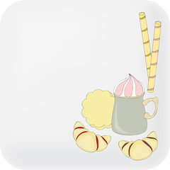 Beverage and sweets on blank background. Hand drawn illustration