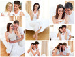 Collage of couples hugging after a positive pregnancy test