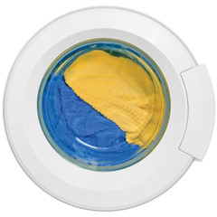 Washing machine door, clothes, yellow, blue plush terry isolated