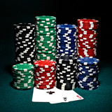 chips for poker with pair of aces
