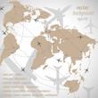 World map flight travel illustration