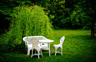 Table and chairs on the grass