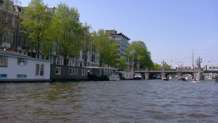 Houseboats along canals, Amsterdam, Netherlands