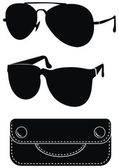 Classical sunglasses, Black natural leather case