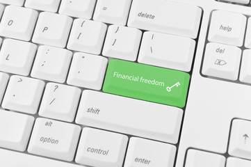 Keyboard with green key Financial freedom