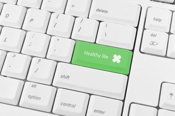 Keyboard with green key Healthy life