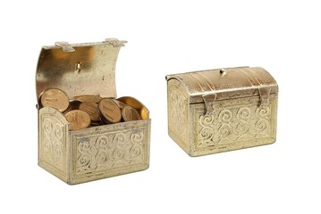 Two chests with coins