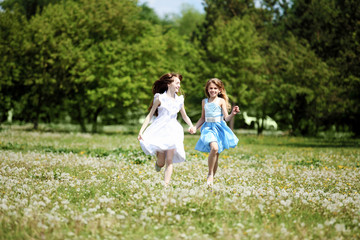 two girls playing in the park