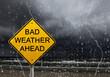 Leinwandbild Motiv warning sign of bad weather ahead