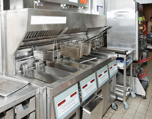 Deep fryer on restaurant kitchen
