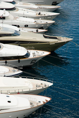 Anchored luxury yachts