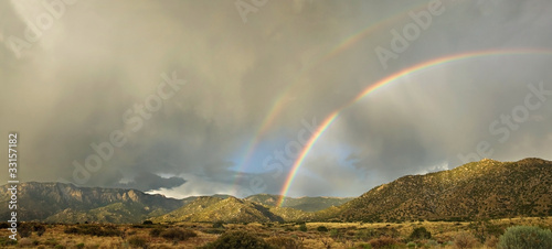Desert Landscape: Double Rainbow over Sandia Mountains