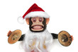 Vintage mechanical monkey toy with santa hat and beard - 33157790