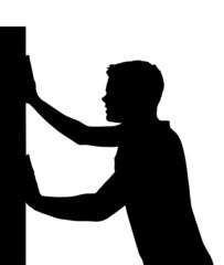 Isolated Boy Child Gesture Pushing