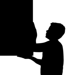 Isolated Boy Child Gesture Carrying Large Frame