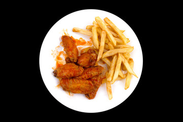 Plate of Buffalo Wings and Fries