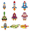 cartoon spaceship icon set.