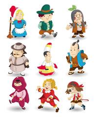 cartoon story people icon set