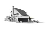 detached house in black and white poster