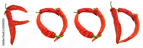 FOOD text composed of chili peppers