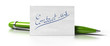 word contact us handwritten on a business card, green pen